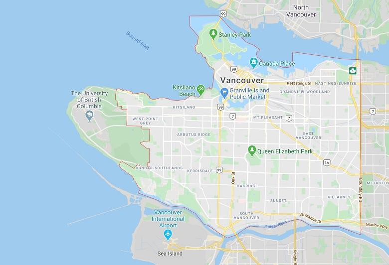 نقشه ونکوور