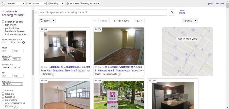 سایت Craigslist.org برای اجاره خانه در کانادا