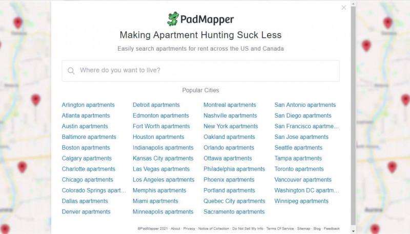 سایت PadMapper.com برای اجاره خانه در کانادا